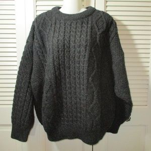 Quills Woolen Market Charcoal Cable Knit Sweater L